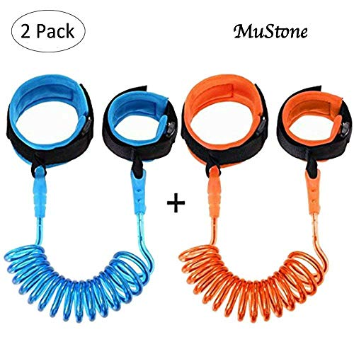 Correa de muñeca antipérdida (1,5 metros) para niño, ajustable, suave y elástica, para mayor seguridad cuando se camina entre multitudes, color azul, de MuStone 2 Pack(Blue&Orange)