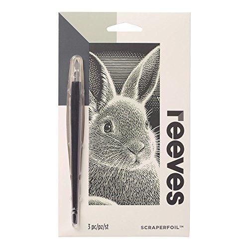 Reeves PPSFM11 Kratzbild Mini, Größe 11x18cm, inkl. Kratzmesser, Farbe - Silber, Motiv - Hase - Erwachsene Hase