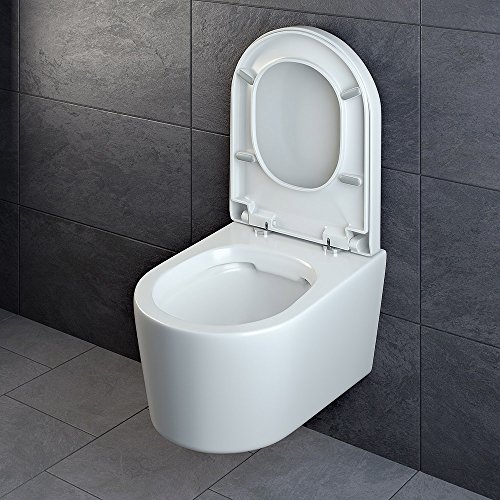 Design Wand Hänge WC ohne Spülrand Spülrandlos Toilette Sitz Softclose hängend 6 - 4