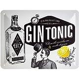 Nostalgic-Art Plaque Vintage Gin Tonic – Idée de Cadeau pour Les Amateurs de Cocktails, en métal, Design Retro pour la décora