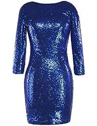 c9b38ccb0 Oudan Mini Vestido de Fiesta con Lentejuelas y Mangas 3 4 de Bodycon  Clubwear para Mujer (Color   Azul