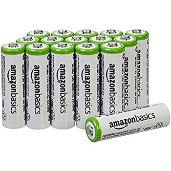 AmazonBasics AA Pre-charged Rechargeable Batteries 2000 mAh [Pack of 16] (Packaging may vary)