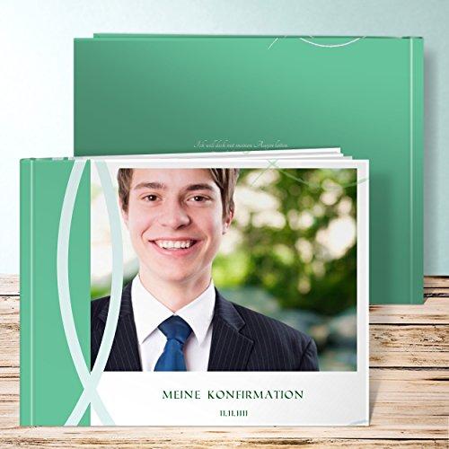 Fotoalbum Konfirmation Jungen, Bedeutung 28 Seiten, Hardcover 290x222 mm personalisierbar, Grün