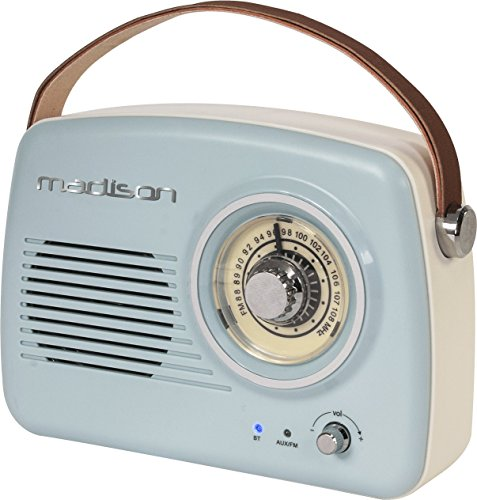 Madison Freesound-VR30 - Radio vintage con Bluetooth (30 W, USB) color azul