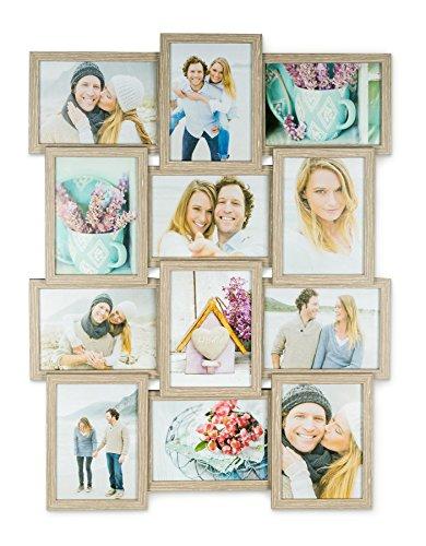 n Collage B x H: 51x68cm 12 Fotos 13x18 Eiche gekälkt MDF Holz fertig montiert Glas (12 X 12 Holz-rahmen)