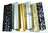 10 Rollen Luxus Weihnachtspapier hochwertiges Geschenkpapier je 2 m x 70 cm Gold,Silber,Schwarz wie abgebildet