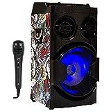 Music Life Altavoz Karaoke con Micrófono 80W USB Bluetooth Radio FM Portátil TF Card Recargable...