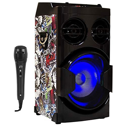 Music Life Altavoz Karaoke con Micrófono 80W USB Bluetooth Radio FM Portátil TF Card Recargable con Mando Luz Disco