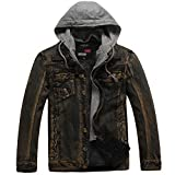 Jeansjacke Herren Zipper Mantel Winterjacke Herbst Winter Casual Kapuzen Wash Distressed Mantel Top Bluse Fleece Hoodie Mode Wunderschön Freizeit Jacke