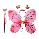 BESTOYARD 3 stücke Schmetterling Kostüm Set Schmetterlingsflügel mit Schmetterling Stirnband und Fee Zauberstab für Kinder Mädchen Party Leistung Kostüm begünstigt (hellrot)