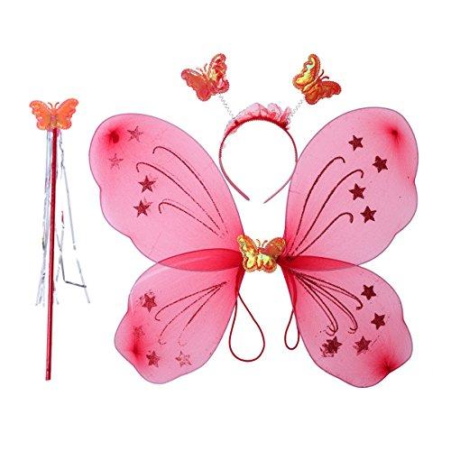 LUOEM Kinder Mädchen Fee Kostüme Prinzessin Schmetterlingsflügel Stirnband Zauberstab Party Kostüm 3-teiliges Set (leuchtend rot) (Tinkerbell Kostüm Halloween)