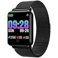 M19 Smart Watch Sport Bracelet Pedometer Heart Rate Sleep Blood Pressure Monitor Stainless Steel emote Camera Weather Report Air Upgrade Music Control.Language English Spanish etc Yesmile