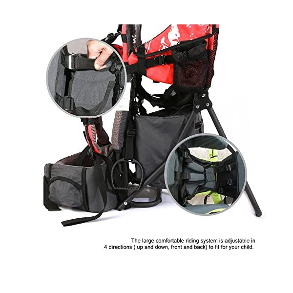 Baby Toddler Hiking Backpack Carrier w/Stand Child Kid Sunshade Shield XTLSTORE Ideal for Children Between 6 months to 4 years old. Maximun child weight: 50 pounds Canopy can be easily removed or folded back out of the way 4