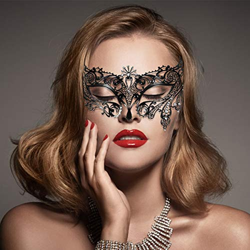 Toyvian Luxus venezianischen Stil Diamante Metall Filigrane Augenmaske Prom Maske Maskerade Ball Maske für kostüm Party Cosplay (schwarz)