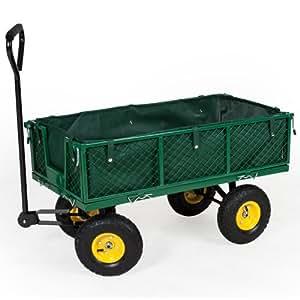 TecTake® Bollerwagen Handwagen Handkarren mit Luftbereifung und Plane