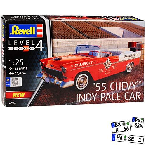 Chevrolet Chevy Bel Air Custom Serie 2400C Coupe Rot Indy Pace Car 1. Generation 1953-1957 07686 Bausatz Kit 1/25 1/24 Revell Modell Auto mit individiuellem Wunschkennzeichen