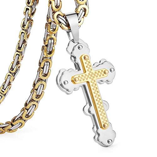 XIAOSO Jesus Kreuz Anhänger Halskette Edelstahl Männer Schmuck Byzantinischen Gliederkette Poplular Christian Colar Splitter Gold Farbe