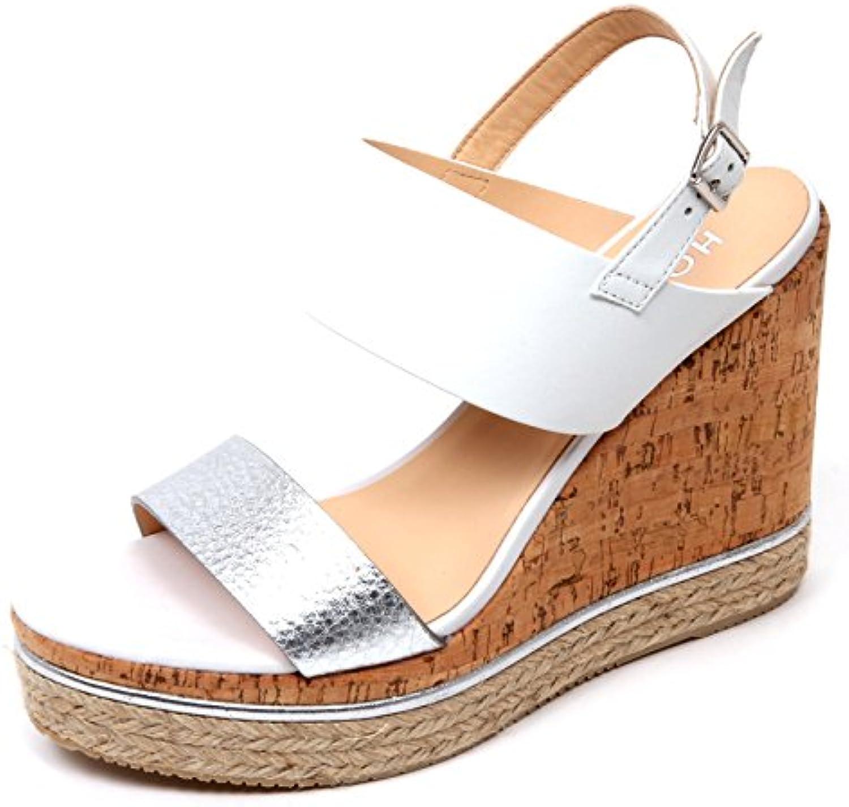 4c2ba0df1401e Hogan D0250 sughero Sandalo Donna H324 Scarpa Zeppa sughero D0250 Argento  Bianco Shoe Woman 53baa6