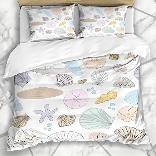 Bettbezug-Sets Natur Blau Hochzeit Pastell Shell Sand Dollar Sommer Strand Seaside Star Mikrofaser Bettwäsche mit 2 Pillow Shams -