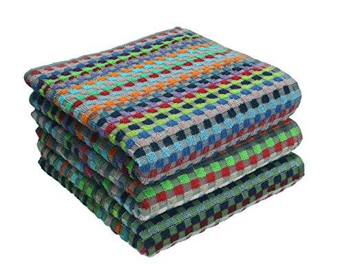 Betz. set di 3 strofinacci a quadri colorati, misure: 50 x 90 cm, 100% cotone