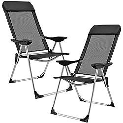 [casa.pro] Set de 2 sillas de camping plegables negras marco de aluminio tapicería de tela para jardín, balcón, terraza o playa
