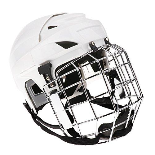 perfk Casco Ajustable del Casco del Hockey Sobre Hielo Y Máscara Faci