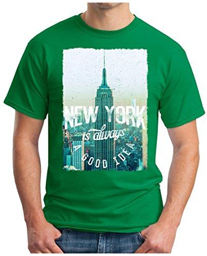OM3 - NEW-YORK - T-Shirt IS ALWAYS A GOOD IDEA NY BRONX LA PD GANG EMPIRE USA Grün