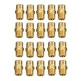 Akozon Messing Rohr Hex Nippel Außengewinde 1/8 BSP zu 1/8 BSP Fitting Schnell Adapter Set von 20 Stück