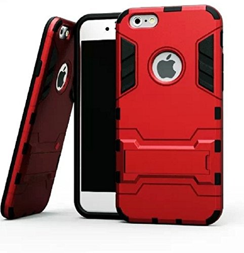 Heartly Graphic Designed Stand Hard Dual Rugged Armor Hybrid Bumper Back Case Cover For Apple iPhone 5 5S 5G - Hot Red
