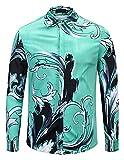 Pizoff Herren barock Palace Hemden - Luxus Still Fashion Langarm Hemd Tops mit golden floral Druckmuster Bleue Welle AL082-08-M
