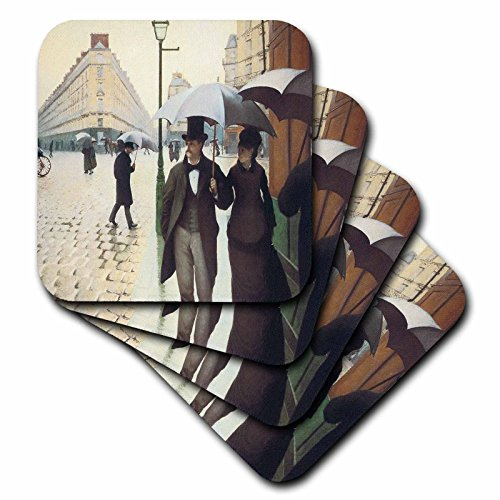 Paris-art-home-dekor (BLN Impressionismus Fine Art Collection–PARIS, Place de leurope auf A Rainy Day von Gustave Caillebotte–Untersetzer, Gummi, set-of-4-Soft)