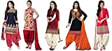 Offer Track Women's Printed Unstitched Regular Wear Salwar Suit Dress Material (Combo pack of 5)(OT_Combo_7085)(OT_3001_Blue)(OT_3046_Red)(OT_3002_Red)(OT_3008_Black)(OT_3032_Red)