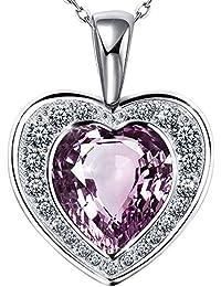 d1bab9fffb803 Atmoko Collier Pendentif en Cristal Swarovski Violet Cœur en Argent 925 Plaqué  Platine, Cadeaux pour
