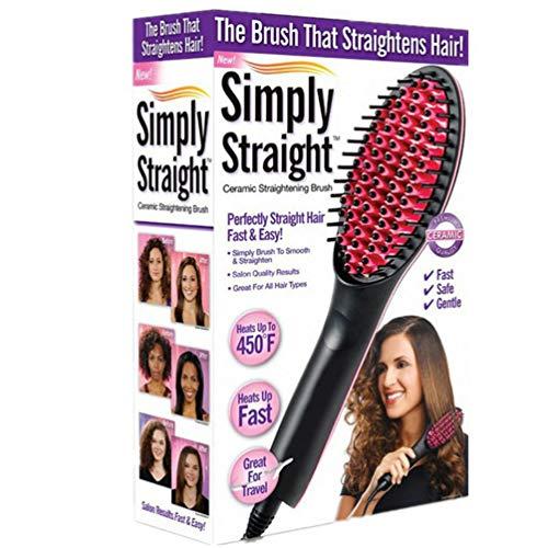 Cepillo para alisar el cabello, Cepillo para alisado del cabello lacio natural Peine alisador Pantalla LED Anti escaldado Calentamiento rápido Cepillo de cerámica iónico para viajes