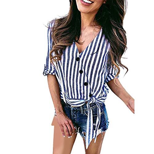 TEFIIR T-Shirt für Frauen, Mitgliedertag Sommer-Räumungsabwicklung,günstige Preisaktion Gestreifte Damen Blusen mit V-Ausschnitt und Knopfleiste Geeignet für Freizeit und Urlaub Rock Roll Baby Onesies