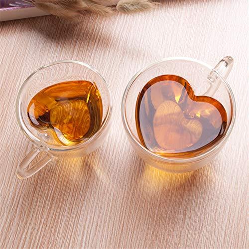 PLDKFB Kaffeetasse Herz Liebe geformt doppelwandige Glasbecher Kung Fu Tee Becher Milch Zitrone Saft Tasse Drink Liebhaber Kaffeetassen Becher Geschenk, 240 ml