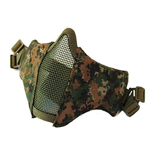BSJY Tactical Airsoft Schutzgitter Hälfte Gesicht Maske mit 2-Belts Mesh Metall Schutz Maske, Digital - Digitales Gesicht