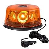 Justech 48W Lampeggiante a LED - 8COB Super Luminosa Luce LED Stroboscopica d'emergenza 12 Modalità Ambra con Base Magnetica+ Spina Accendisigari da 12/24V per Veicolo Auto Camion Fuoristrada SUV