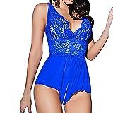 Damen Dessous,PLOT Frauen Sexy erotik Dessous Ein Stück Nachtwäsche Versuchung Nightgown Rückenfreies Halfter Babydoll Unterwäsche (Blau, L)