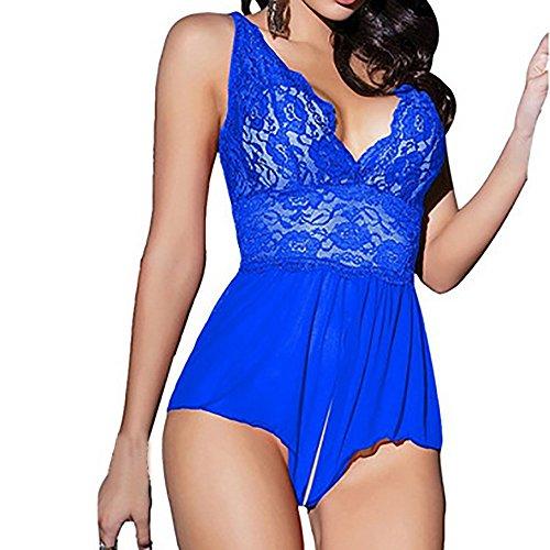 (Dessous Damen, Sunday Spitze Sexy Passion Dessous Backless Halter Babydoll G-String Kleid Lace Babydoll Nachtwäsche Lingeries Reizwäsche Clubwear (Blau, XXL))