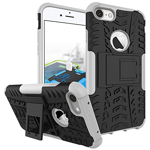 iPhone 8 Plus Heavy Duty Coque DWaybox Hybrid Rugged Armor Hard Back Housse Coque pour Apple iPhone 8 Plus 5.5 Inch Stand Coque avec Kickstand (Purple) White