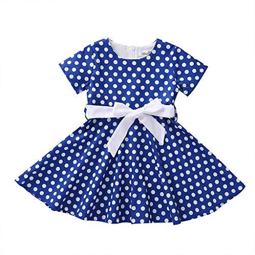 squarex  Mädchen Vintage Kleid Kinder Polka Dot Prinzessin Rock Baby Party Kleider Kinder Kurzarm Kleid Mädchen Casual Rock