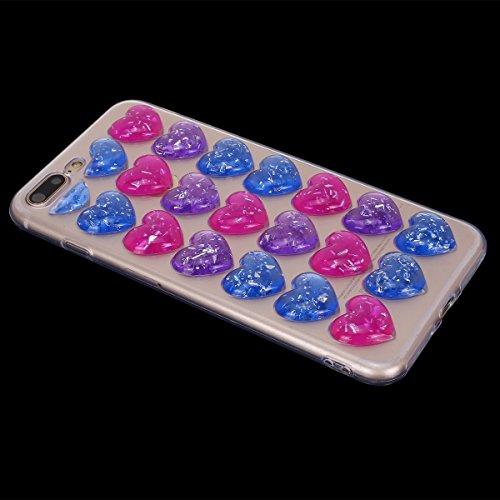 Cover iPhone 8 plus 5.5, Custodia iphone 7 plus Glitter, MoreChioce Moda Ultra Slim 3d Gel Glitter Scintillio a forma di cuore Soft Silicone Gomma Morbido TPU Ragazza Women Trasparente Chiaro Cover S Rosa Rosso Viola Blu