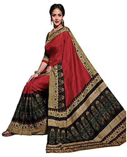 Saree (latest Designer Bhagalpuri Silk Saree With blouse piece For Women By Trade Fashion)