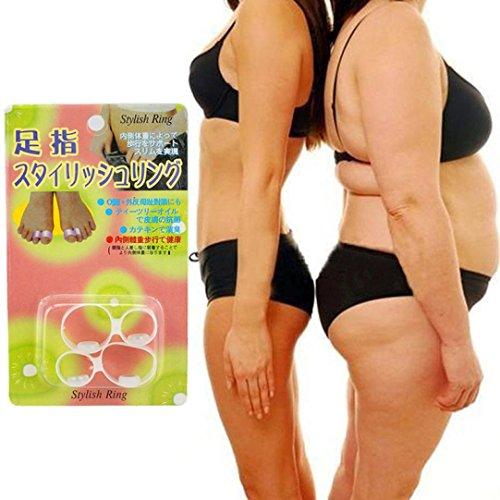 LCLrute 2 PCS Abnehmen Gesundheit Silizium Magnetic Foot Massager Massge entspannen Zehenring (Weiß)