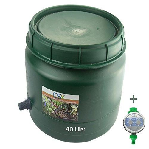 CS Drehdeckelfass 40 Liter Grün mit Tankdurchführung 3/4 Zoll und Bewässerungscomputer für die drucklose Bewässerung