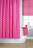 Vibrant Hollywood Pink With White Stars Polyester Shower Curtain Including 12 White Shower Curtain Rings By Waterline