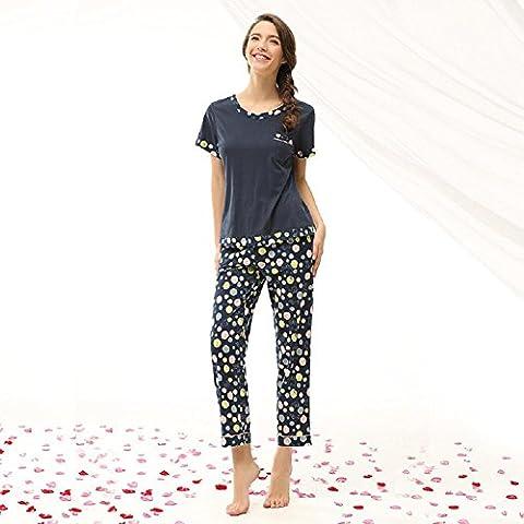 DMMSS Damen Baumwoll Pyjamas gedruckt Hose Home Pyjamas Anzug , m (Weiche Womens Chemise)
