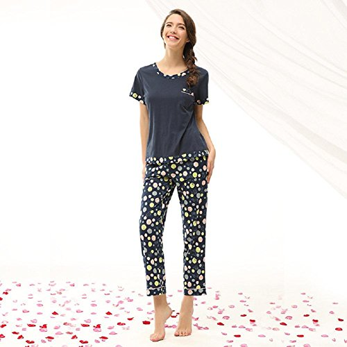 DMMSS Pigiama in cotone di donne stampato casa pantaloni pigiama tuta , l