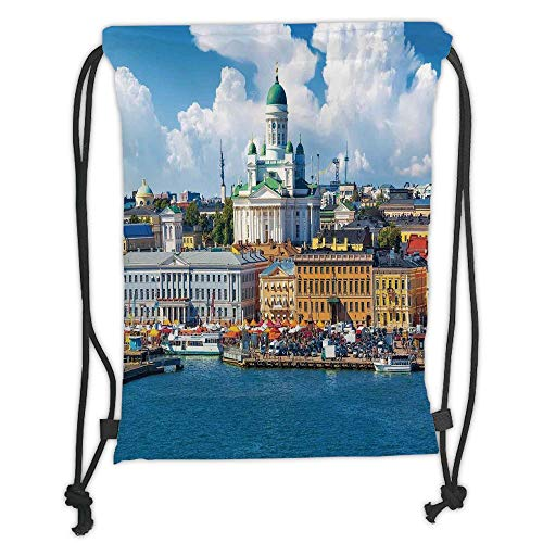 WTZYXS Drawstring Sack Backpacks Bags,Cityscape,Scenic Summer of The Market Square Old Town Helsinki Finnish Northern Skyline Home,Multi Soft SatinT,5 Liter Capacity,Adjustable.